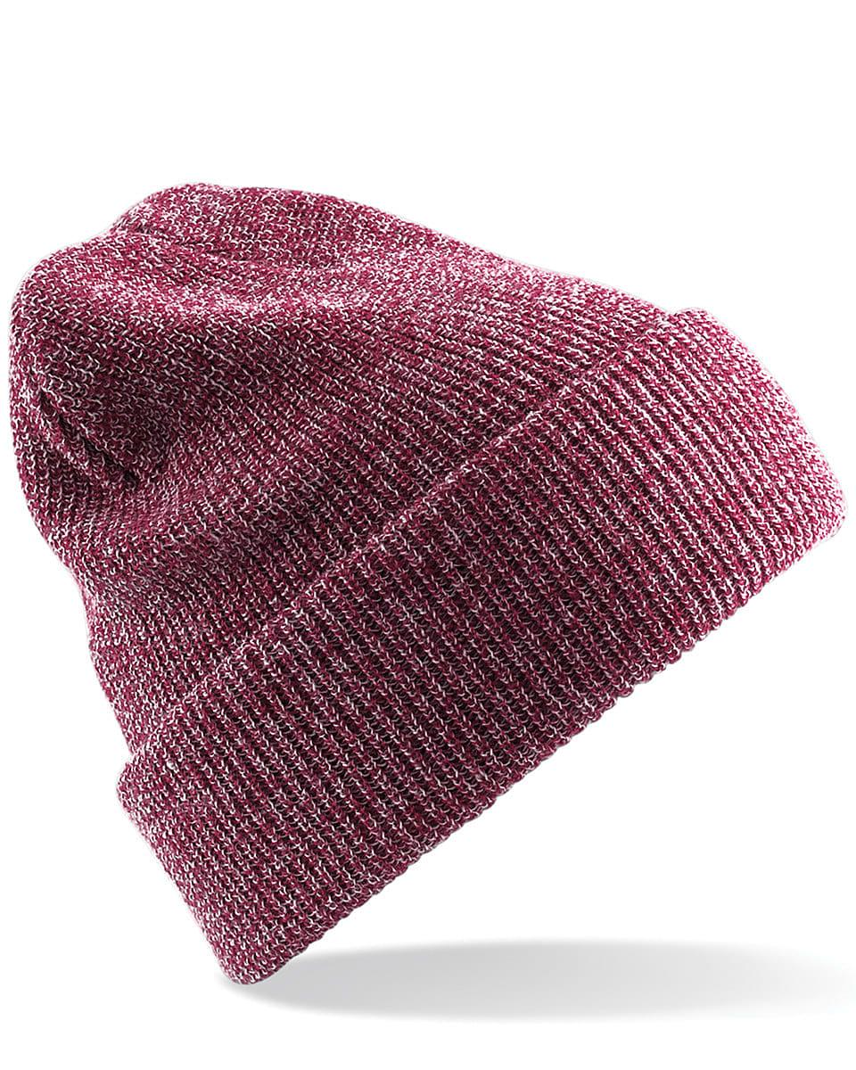 Beechfield Heritage Beanie Hat in Heather Burgundy (Product Code: B425)
