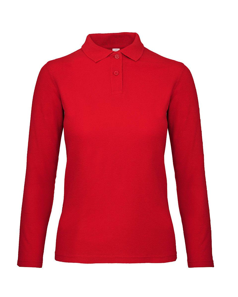 B&C Womens ID.001 Long-Sleeve Polo Shirt in Red (Product Code: PWI13)
