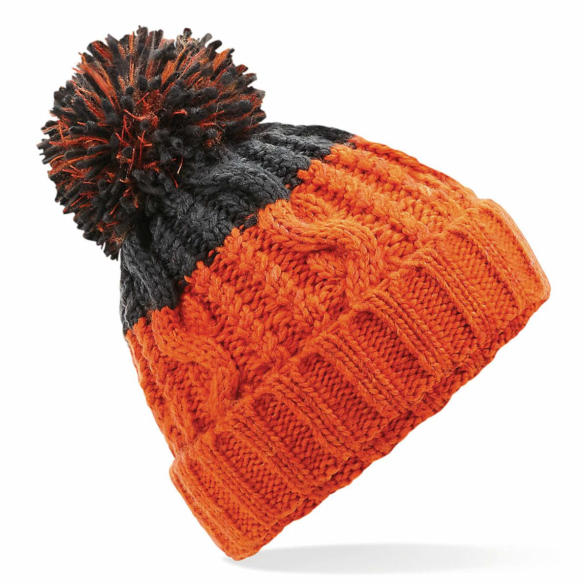 Beechfield Apres Beanie Hat in Orange / Graphite Grey (Product Code: B437)
