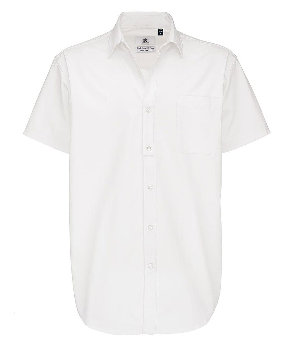 B&C Mens Sharp Twill Short-Sleeve Shirt in White (Product Code: SMT82)