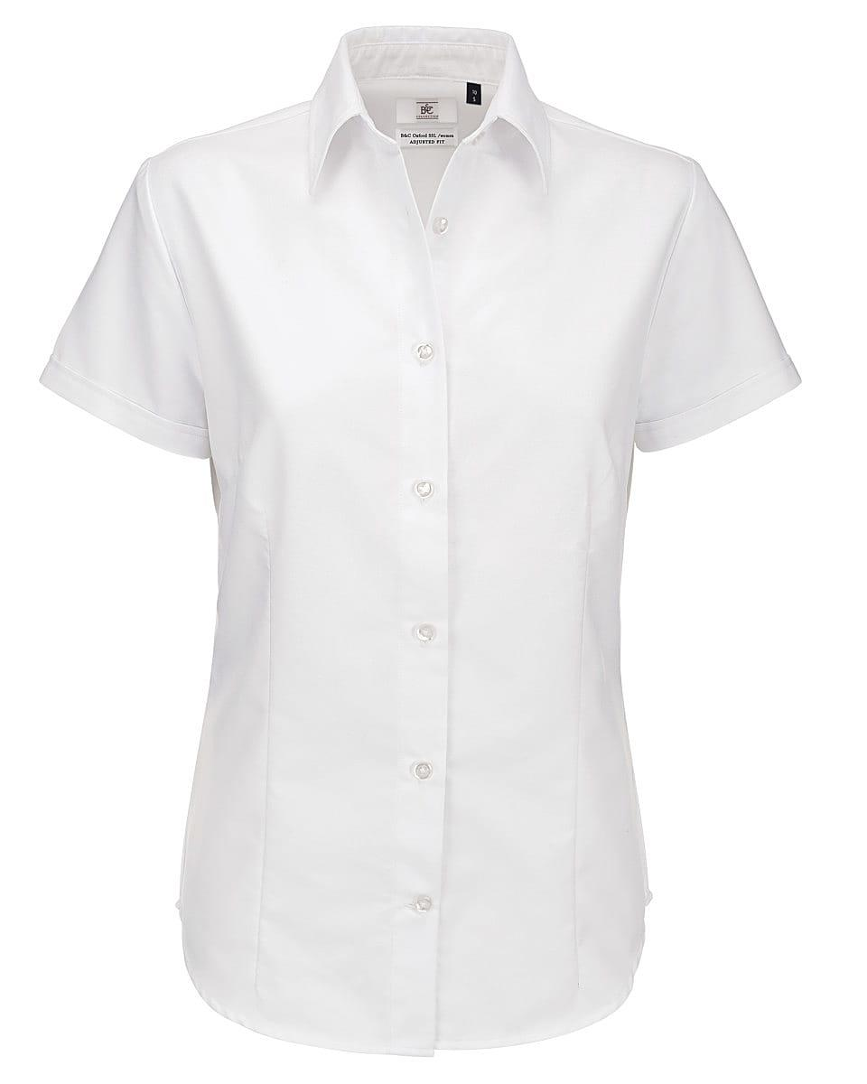 B&C Womens Oxford Short-Sleeve Shirt in White (Product Code: SWO04)
