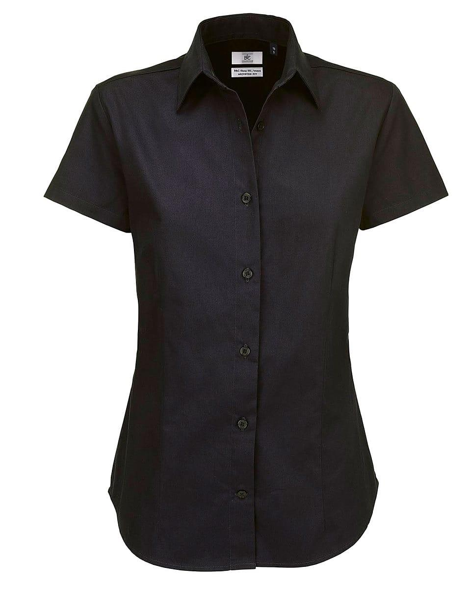 B&C Womens Sharp Twill Short-Sleeve Shirt in Black (Product Code: SWT84)