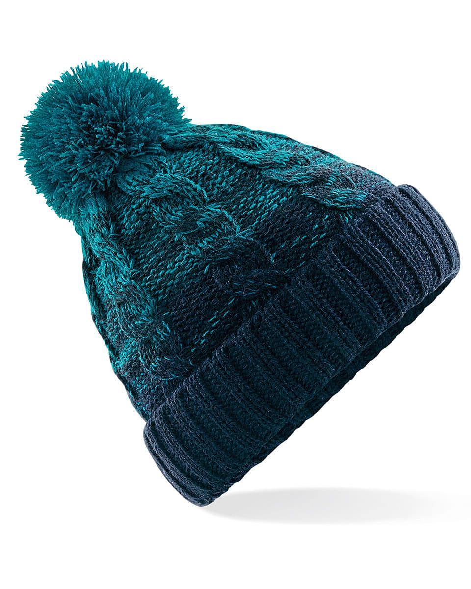 Beechfield Ombre Beanie Hat in Teal / French Navy (Product Code: B459)
