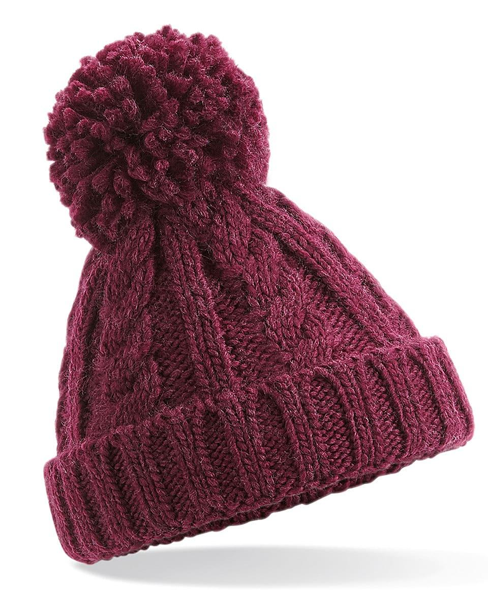 Beechfield Infant Cble Knit Melang Beanie Hat in Burgundy (Product Code: B480A)