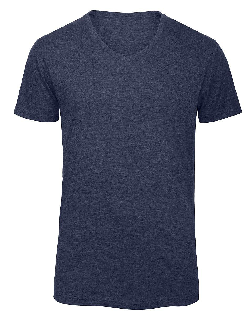 B&C Mens Inspire Triblend V-Neck T-Shirt in Heather Navy (Product Code: TM057)