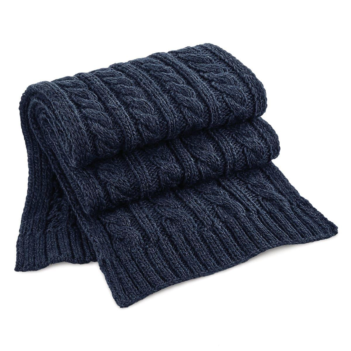 Beechfield Cable Knit Melange Scarf in Navy Blue (Product Code: B499)