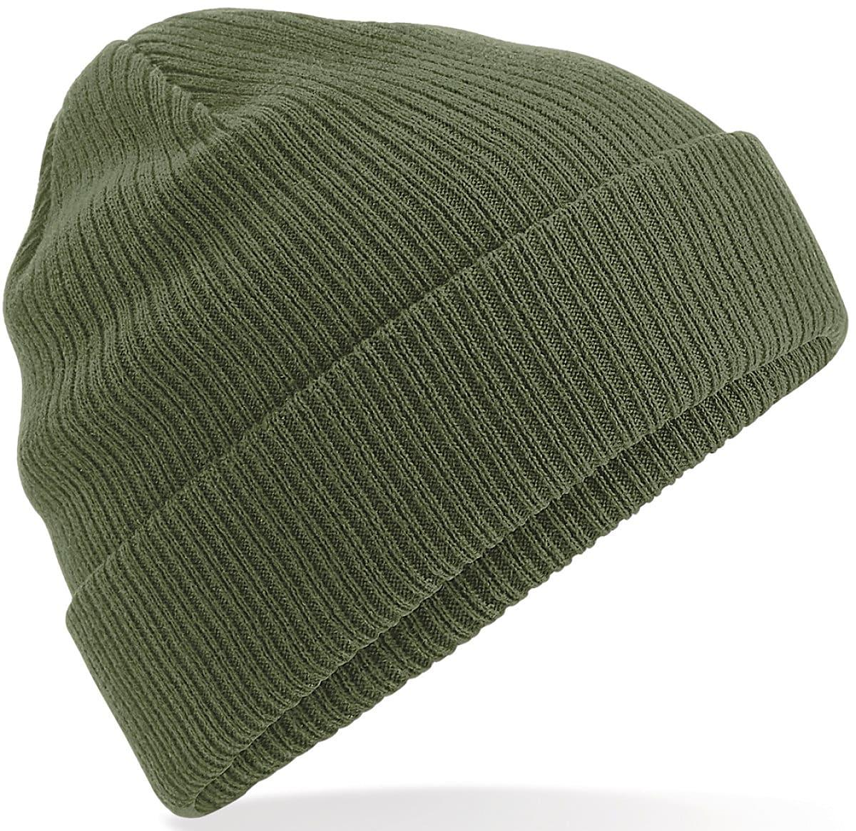 Beechfield Organic Cotton Beanie Hat in Olive Green (Product Code: B50)