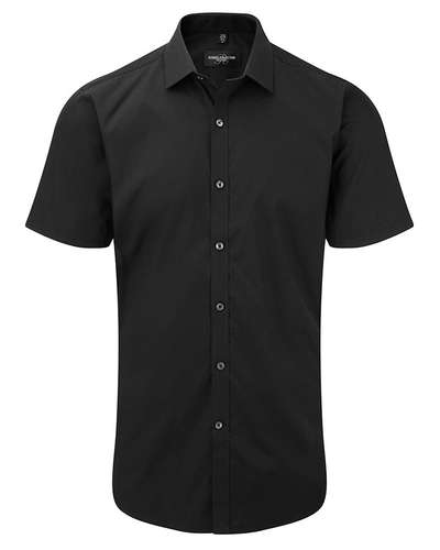 Russell Collection Mens Short-Sleeve Stretch Shir