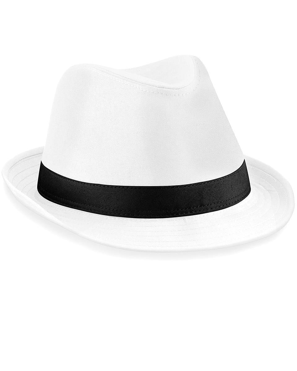 Beechfield Fedora Hat in White / Black (Product Code: B630)