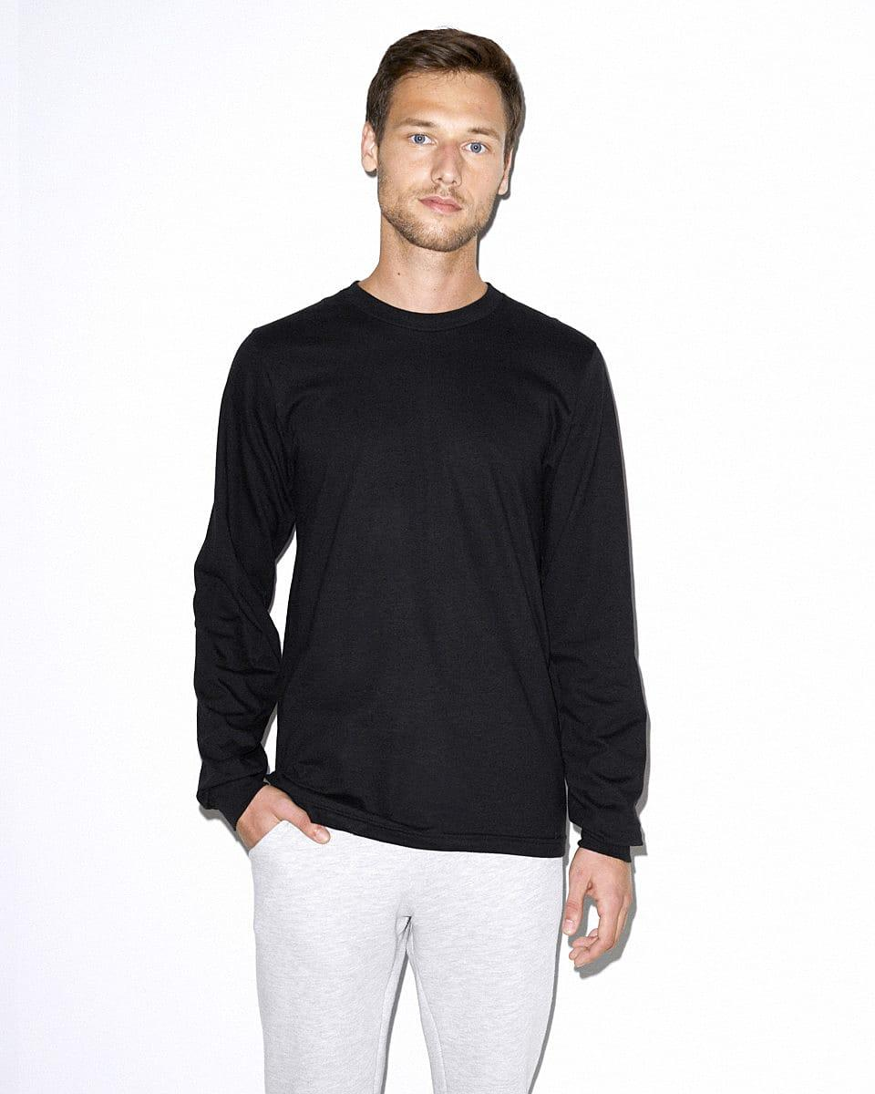 American Apparel Unisex Fine Jersey LS T-Shirt in Black (Product Code: 2007W)