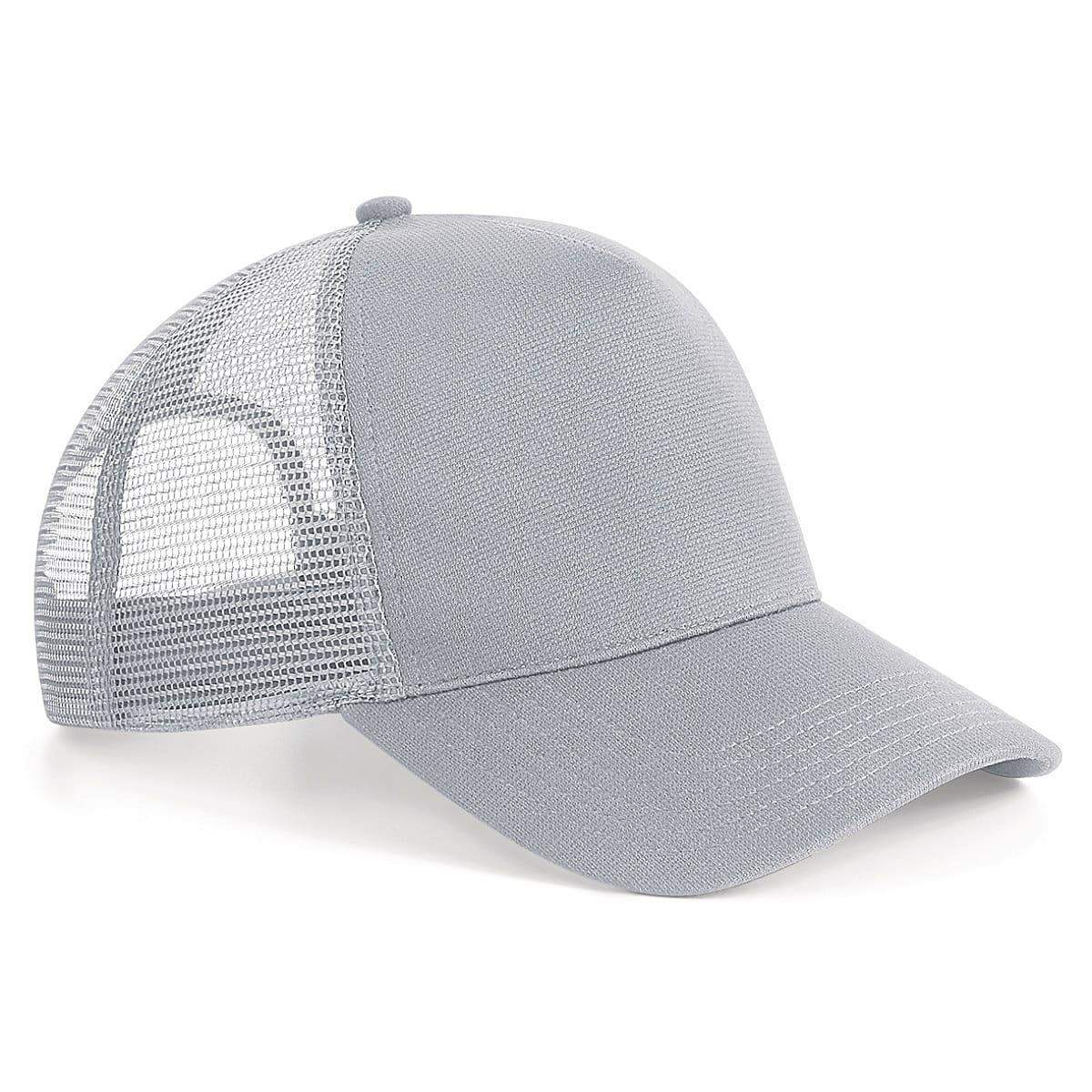 Beechfield Microknit Snapback Trucker Cap in Light Grey (Product Code: B642)