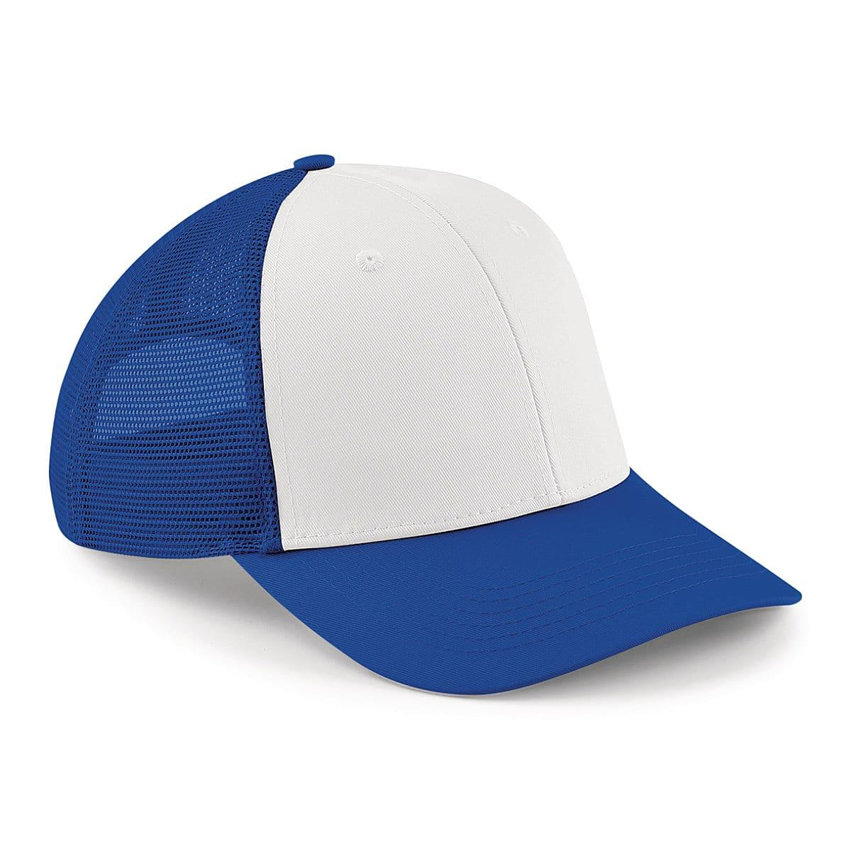 Beechfield 6 Panel Snapback Trucker Cap in Bright Royal / White (Product Code: B647)