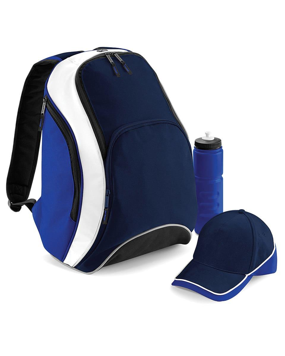 Bagbase Teamwear Backpack in French Navy / Bright Royal / White (Product Code: BG571)