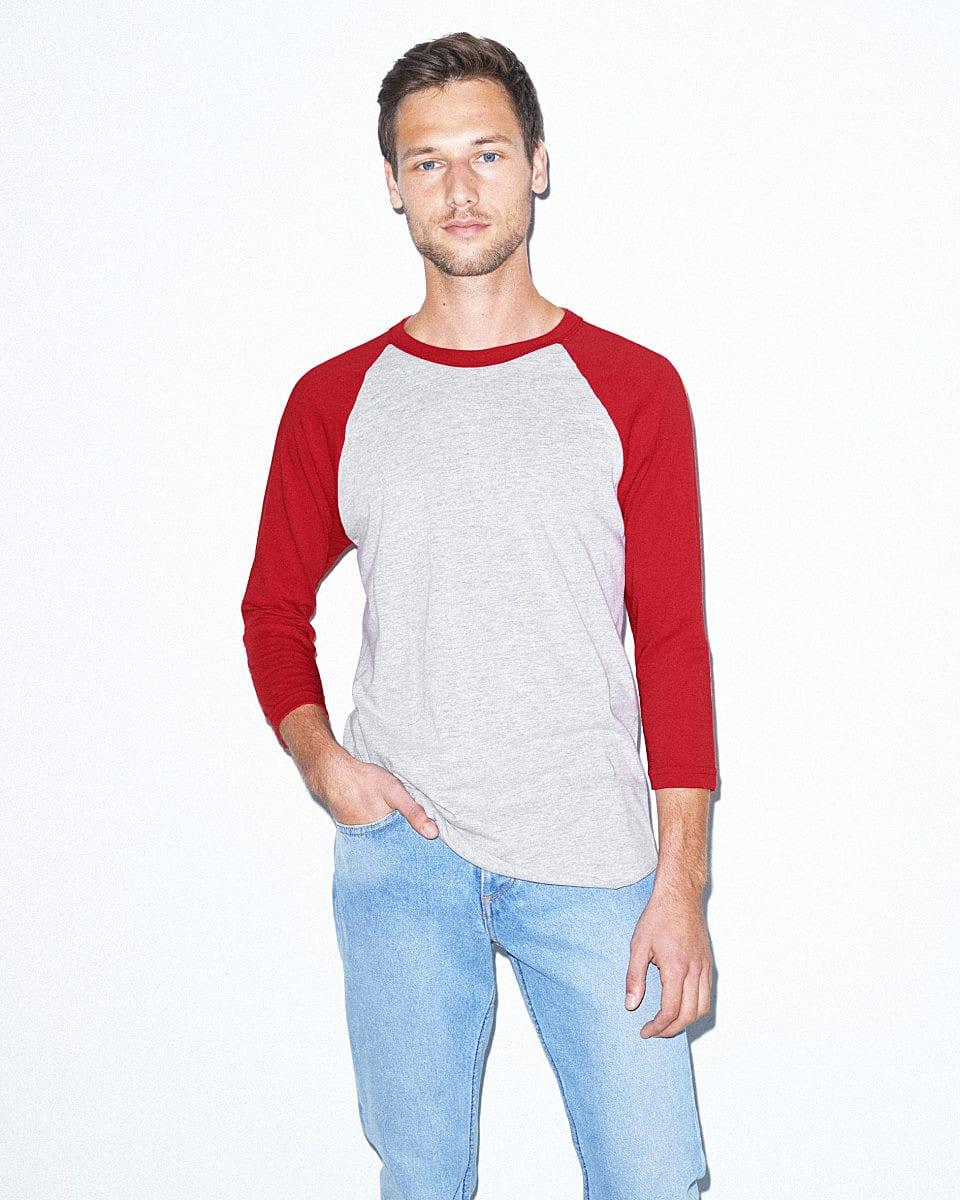 American Apparel 3/4 Raglan T-Shirt in Heather Grey / Red (Product Code: BB453W)