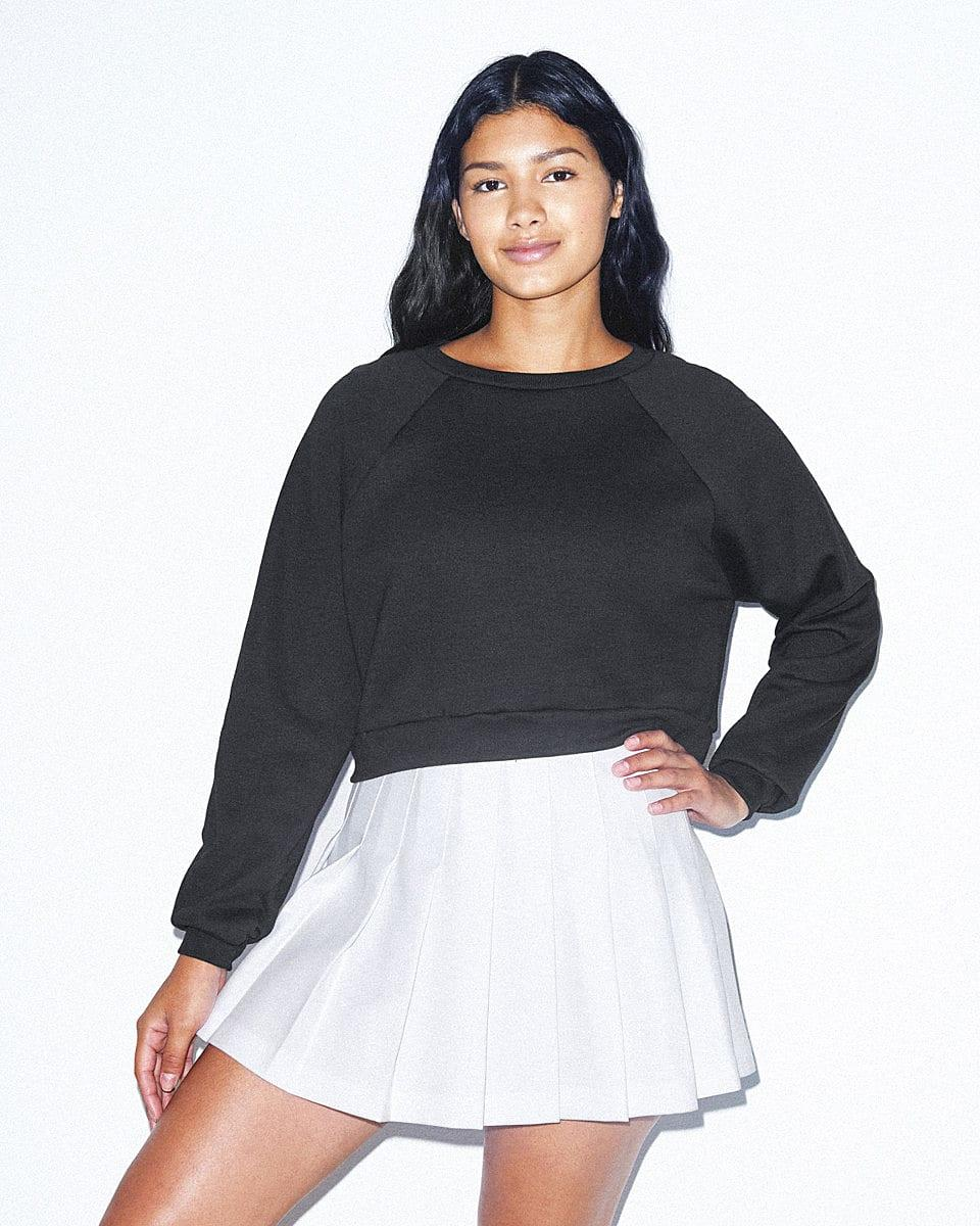 American Apparel Womens Crop Pullover in Black (Product Code: RSAF3451W)