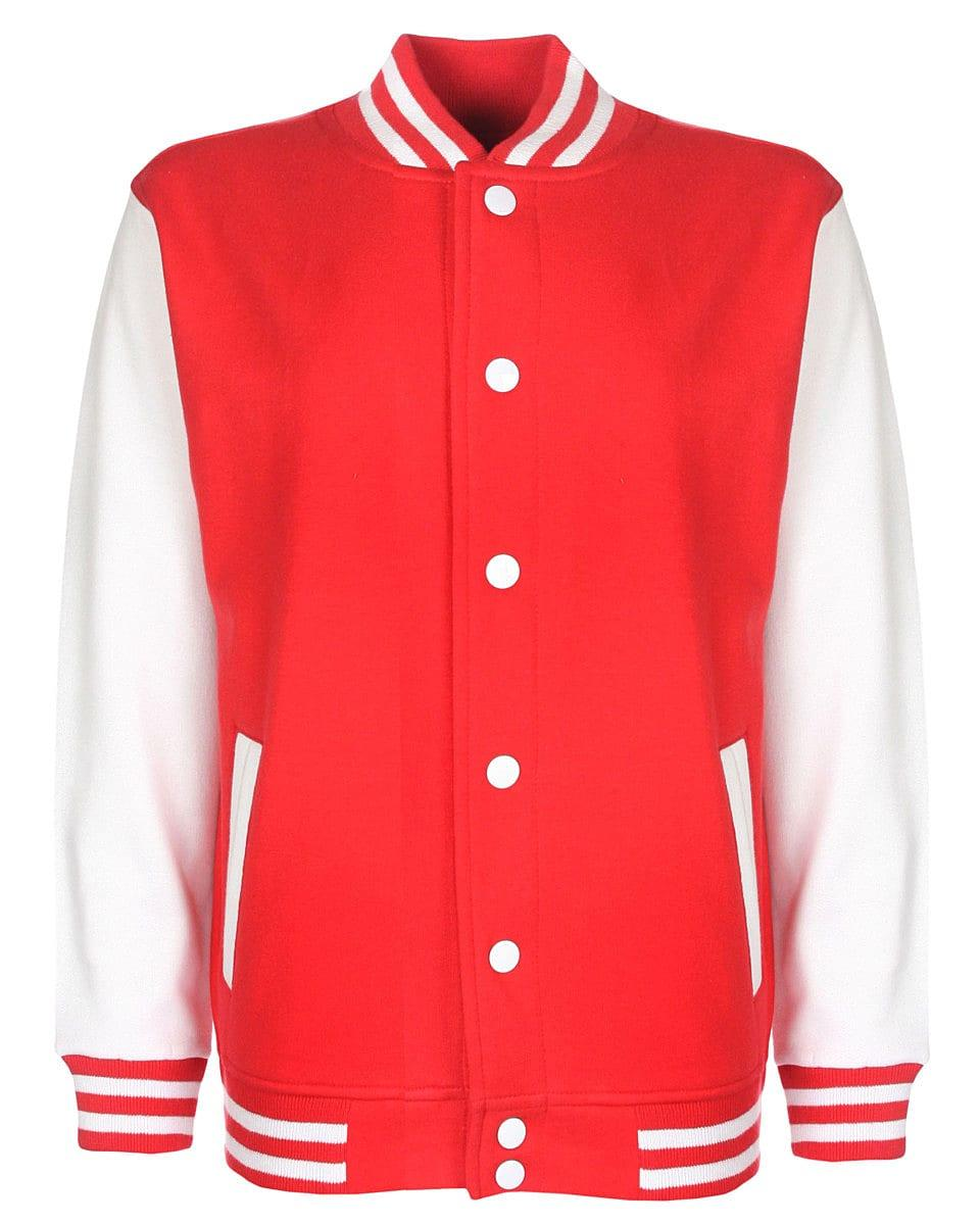 FDM Junior Varsity Jacket in Fire Red / White (Product Code: FV002)