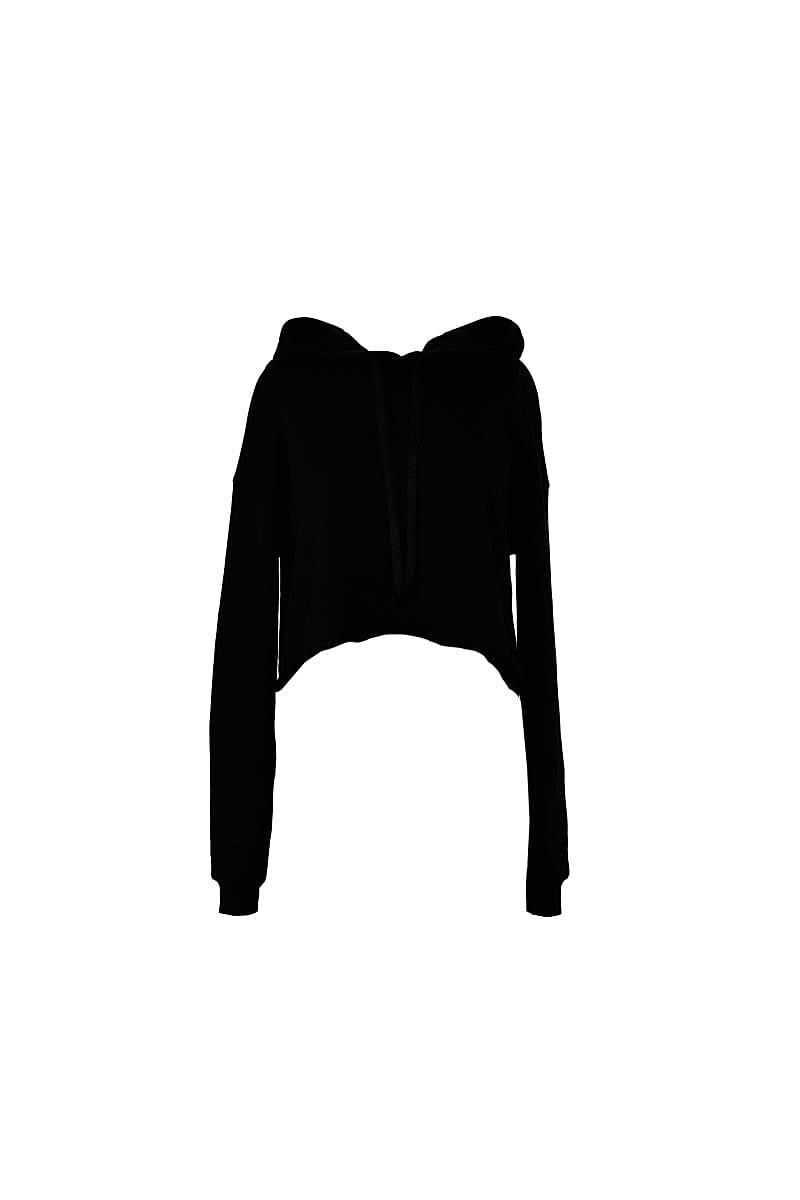 Bella+Canvas Womens Cropped Fleece Hoodie in Black (Product Code: BE7502)