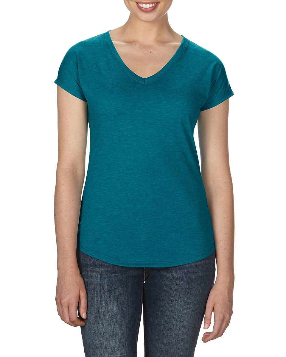 Anvil Womens Tri-Blend V-Neck T-Shirt in Heather Galapagos Blue (Product Code: 6750VL)