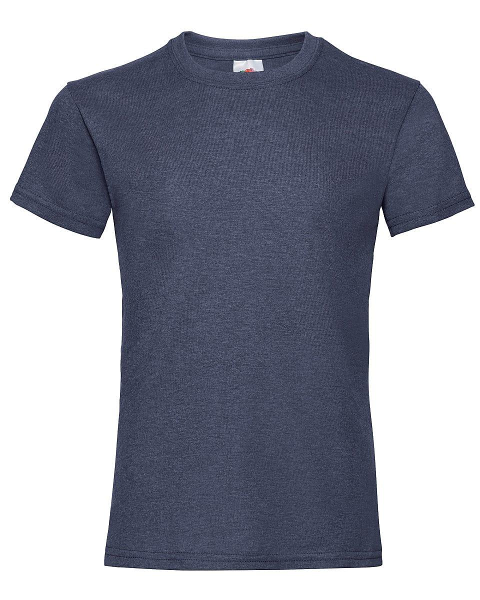 Fruit Of The Loom Girls Valueweight T-Shirt in Vintage Heather Navy (Product Code: 61005)