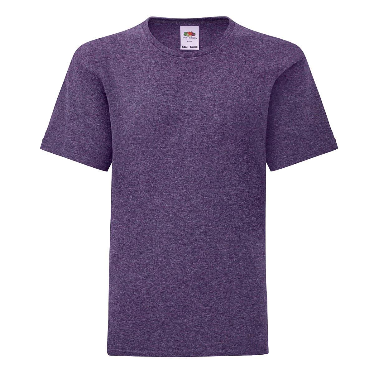 Fruit Of The Loom Kids Iconic T-Shirt in Heather Purple (Product Code: 61023)