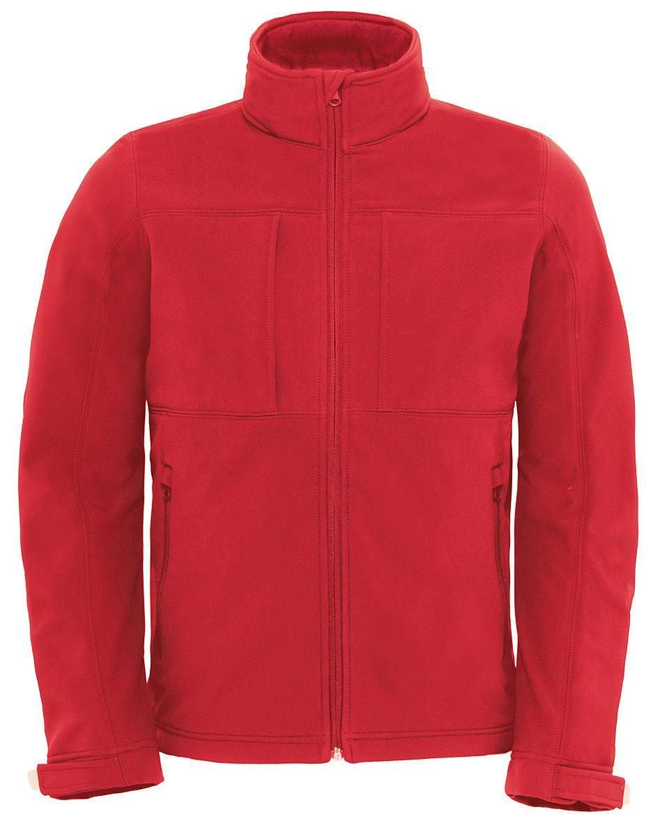 B&C Mens Hooded Softshell Jacket in Red (Product Code: JM950)