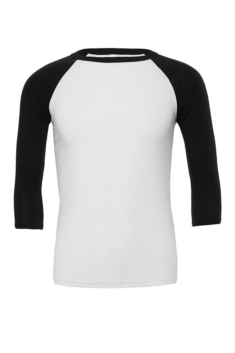 Bella Canvas 3/4 Baseball T-Shirt in White / Black (Product Code: CA3200)