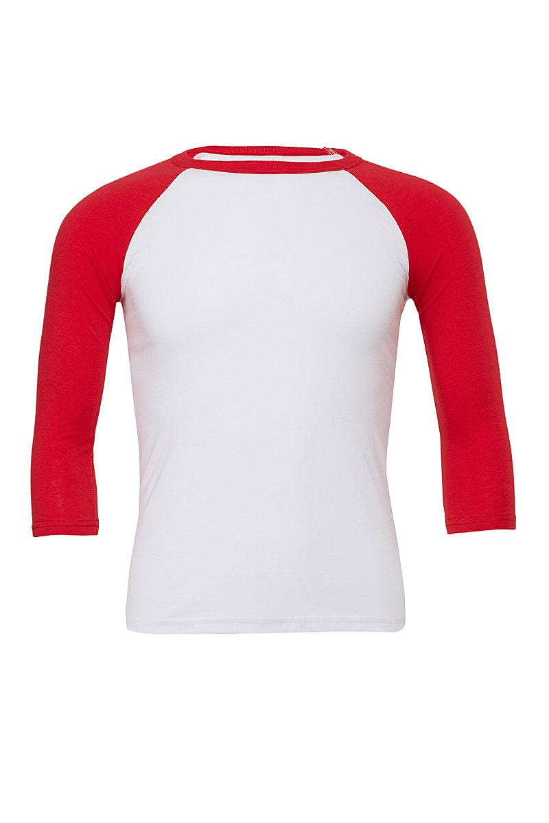 Bella Canvas 3/4 Baseball T-Shirt in White / Red (Product Code: CA3200)