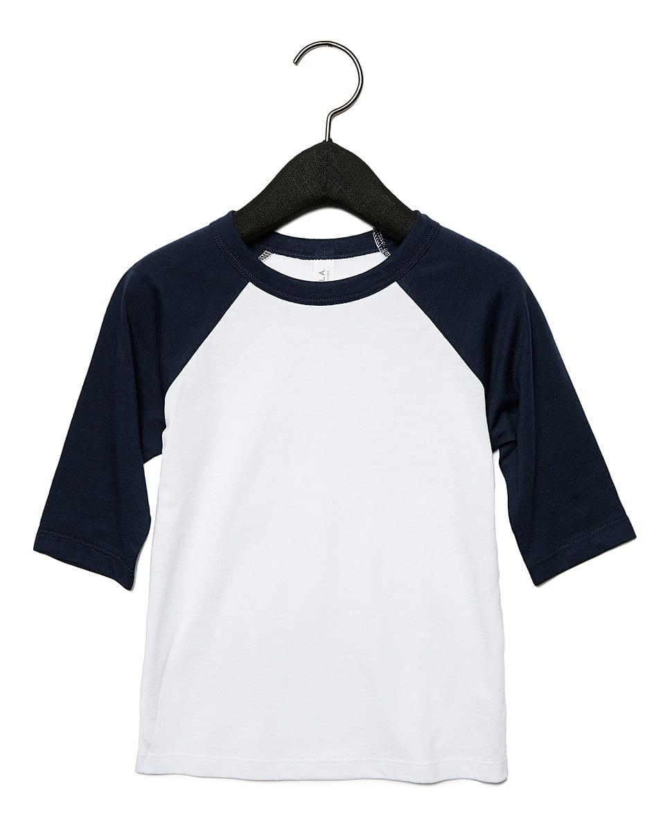 Bella Canvas Toddler 3/4 Baseball T-Shirt in White / Navy (Product Code: CA3200T)