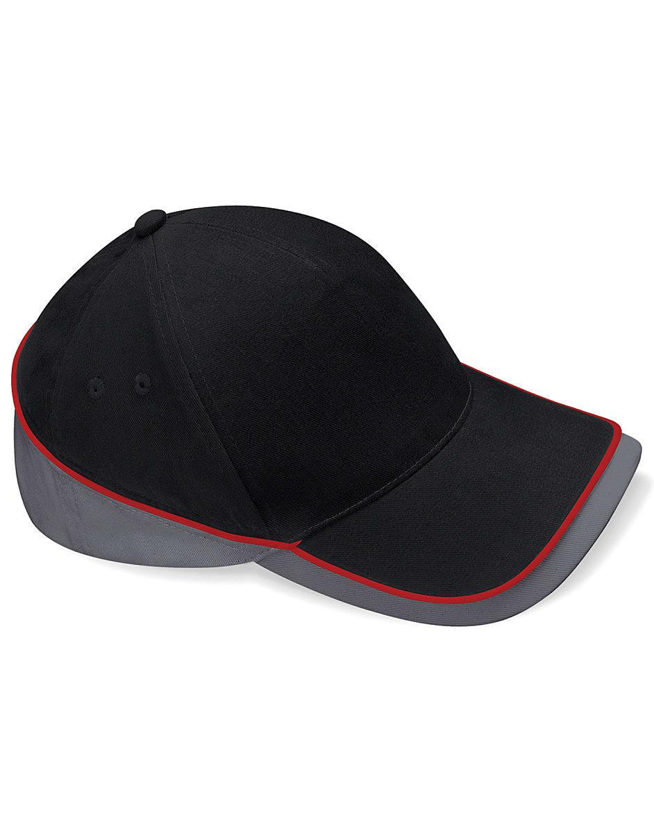 Beechfield Teamwear Competition Cap in Black / Graphite / Classic Red (Product Code: B171)