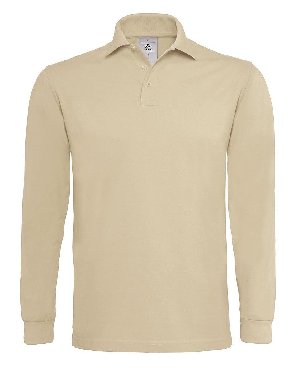 B&C Heavymill Long-Sleeve Polo Shirt in Sand (Product Code: PU423)
