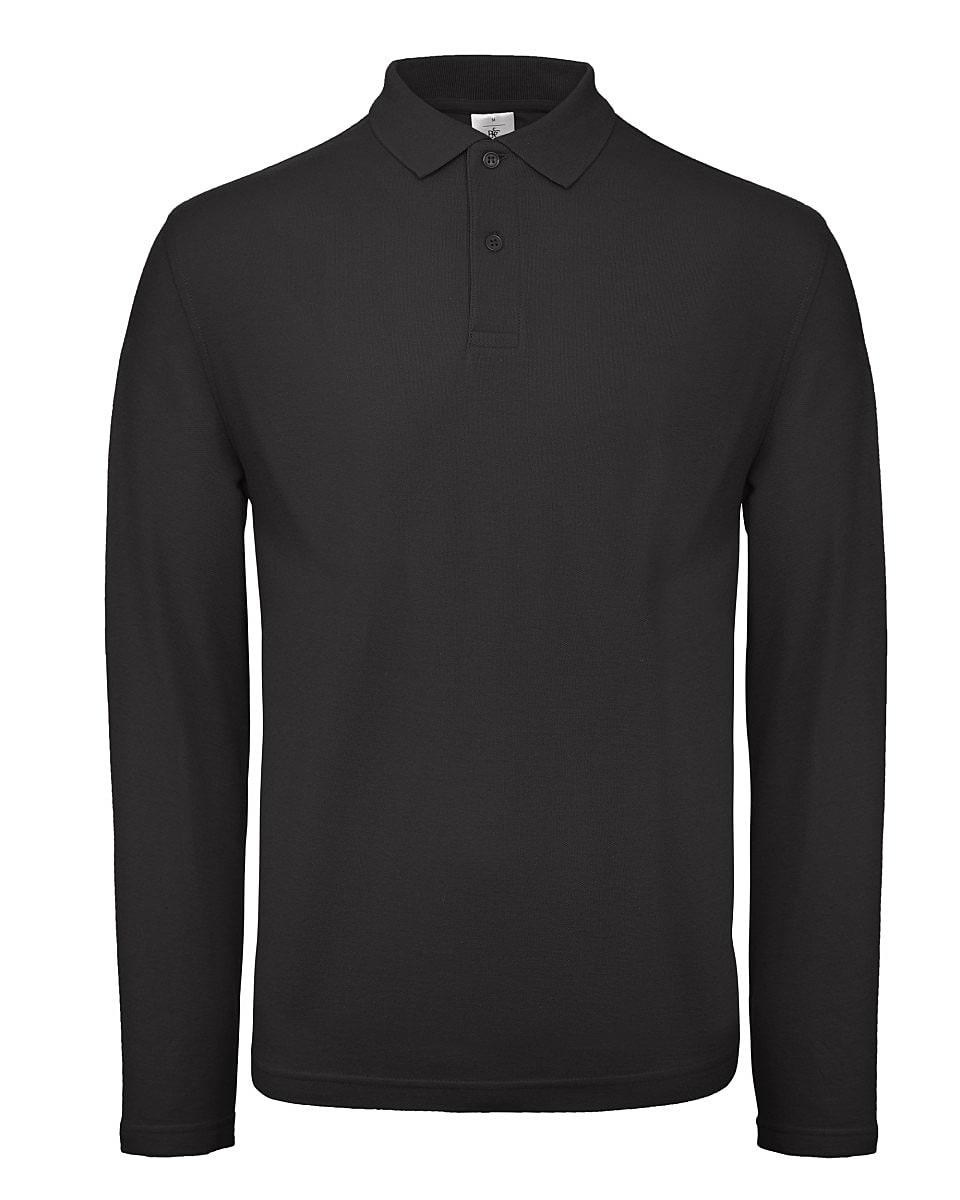 B&C Mens ID.001 Long-Sleeve Polo Shirt in Black (Product Code: PUI12)