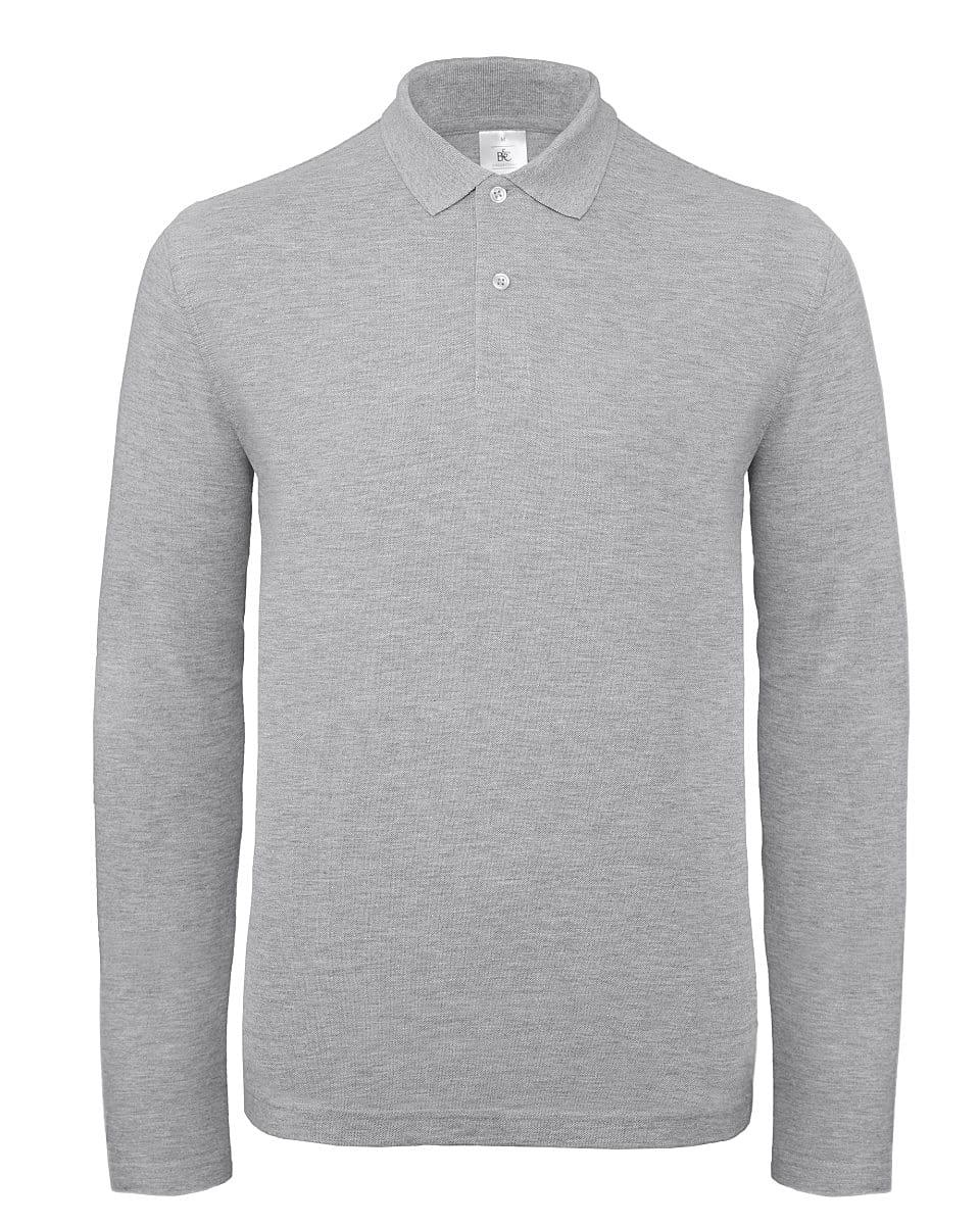 B&C Mens ID.001 Long-Sleeve Polo Shirt in Heather Grey (Product Code: PUI12)