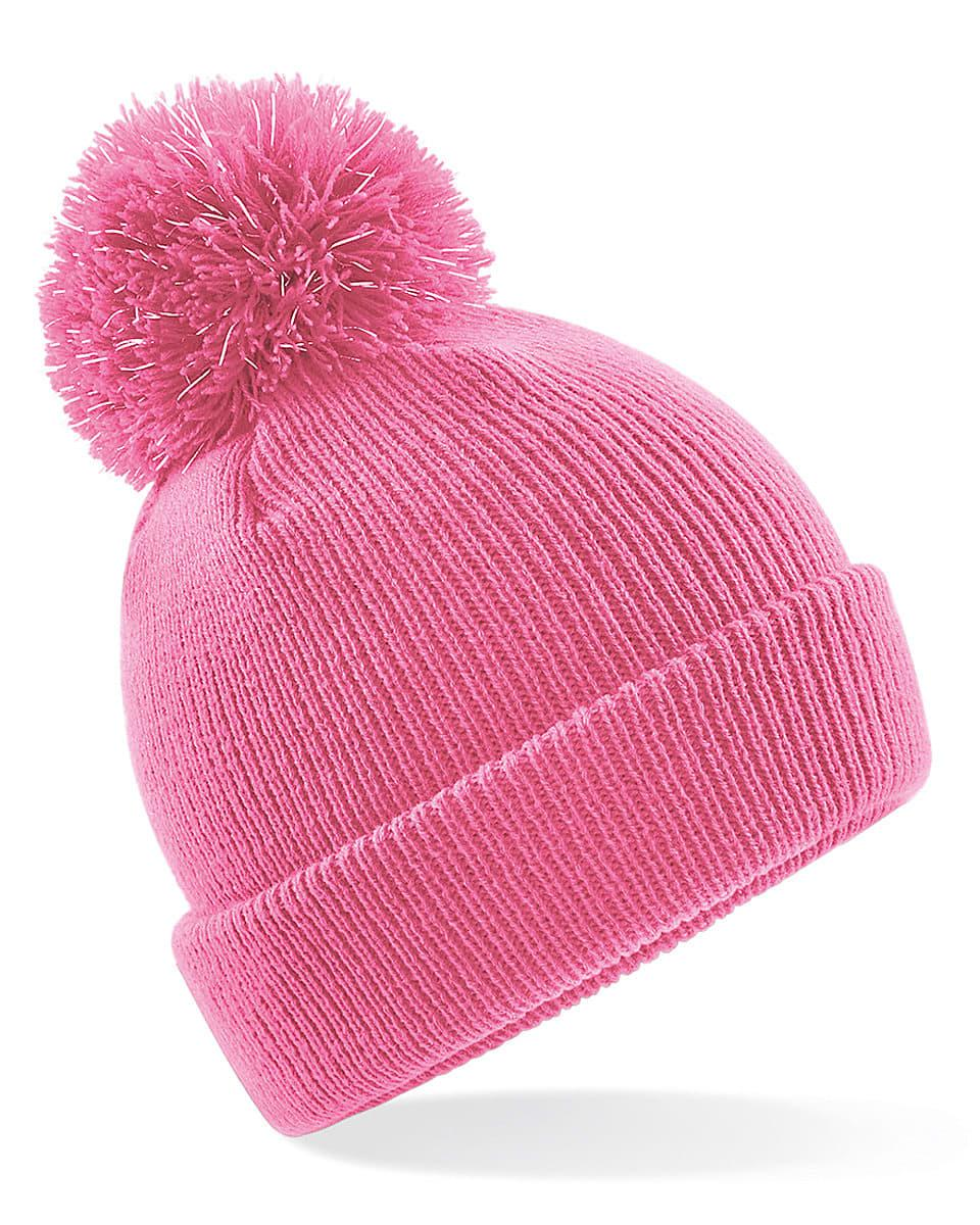 Beechfield Junior Reflective Beanie Hat in True Pink (Product Code: B406B)