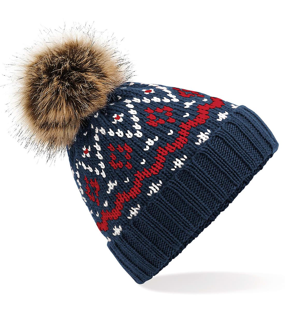 Beechfield Fair Isle Pop Pom Beanie Hat in French Navy / Classic Red / White (Product Code: B411)