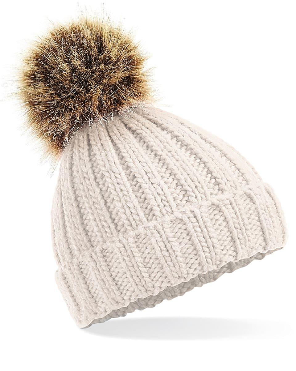 Beechfield Infant PomPom Chunky Beanie Hat in Oatmeal (Product Code: B412A)