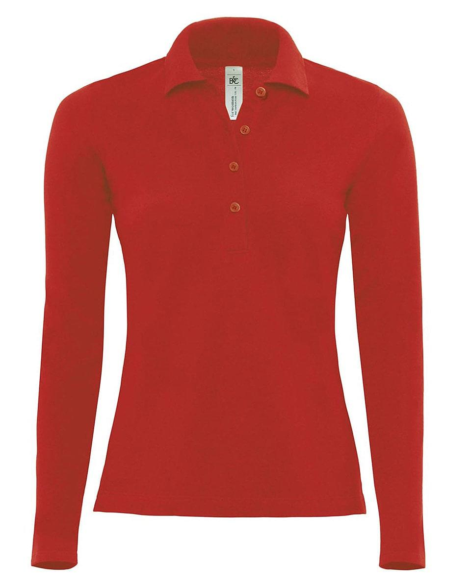 B&C Womens Safran Pure Long-Sleeve Polo Shirt in Red (Product Code: PW456)