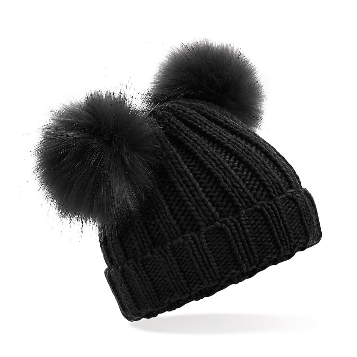 Beechfield Infant Double Pom Pom Beanie Hat in Black (Product Code: B414A)