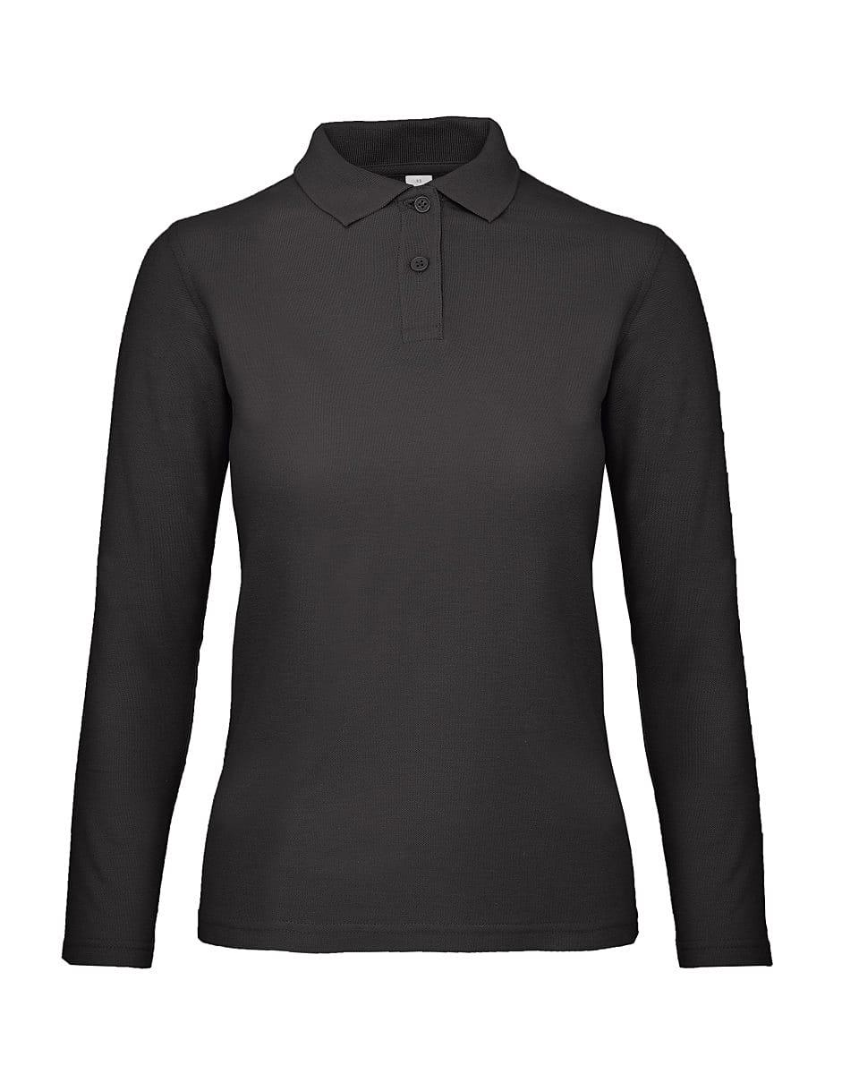 B&C Womens ID.001 Long-Sleeve Polo Shirt in Black (Product Code: PWI13)