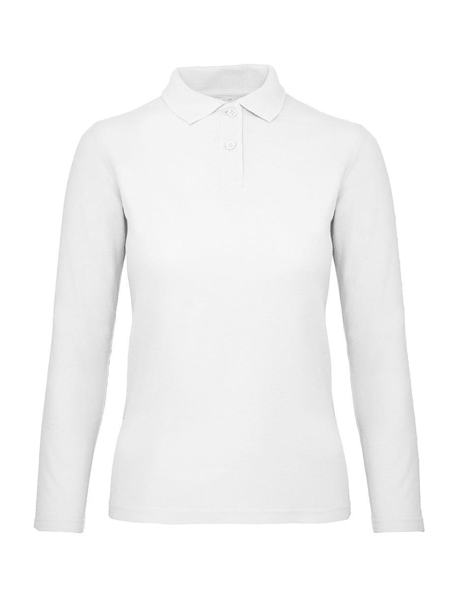 B&C Womens ID.001 Long-Sleeve Polo Shirt in White (Product Code: PWI13)