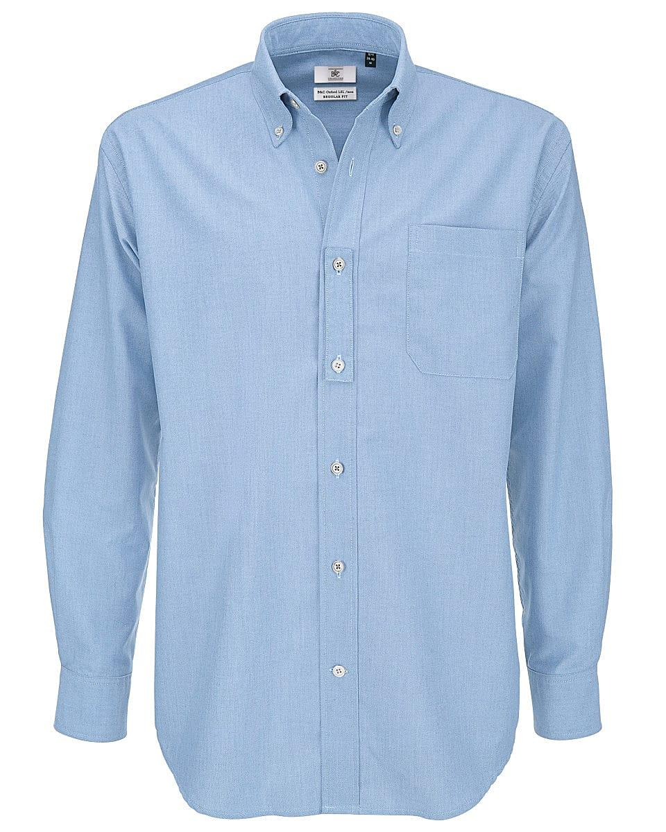 B&C Mens Oxford Long-Sleeve Shirt in Oxford Blue (Product Code: SMO01)
