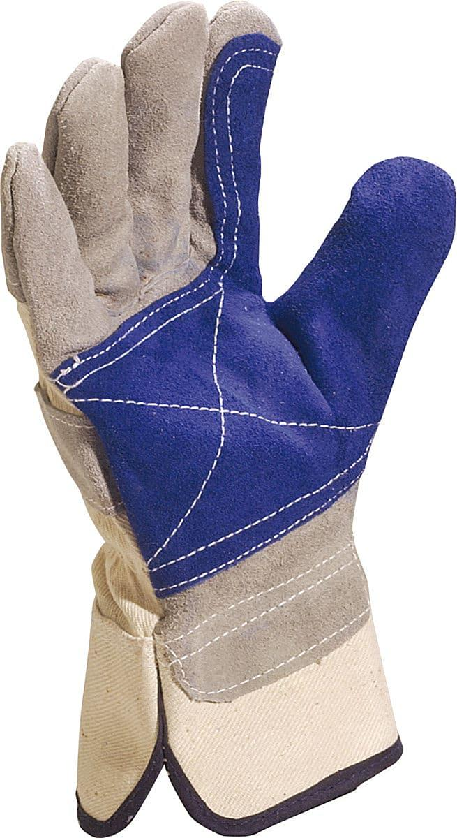 Delta Plus Cowhide Split Leather Gloves in Blue / Grey (Product Code: DS202RP)