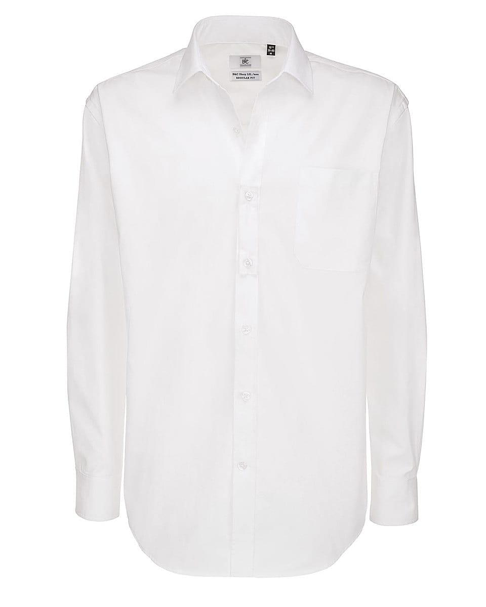 B&C Mens Sharp Twill Cotton Long-Sleeve Shirt in White (Product Code: SMT81)