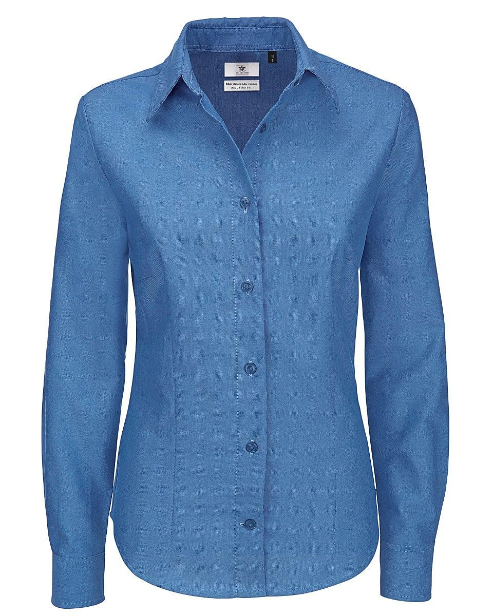 B&C Womens Oxford Long-Sleeve Shirt in Blue Chip (Product Code: SWO03)