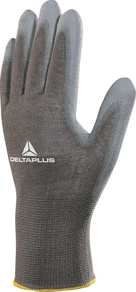 Delta Plus PU-Coated Polyester Knitted Gloves in Grey (Product Code: VE702PG)