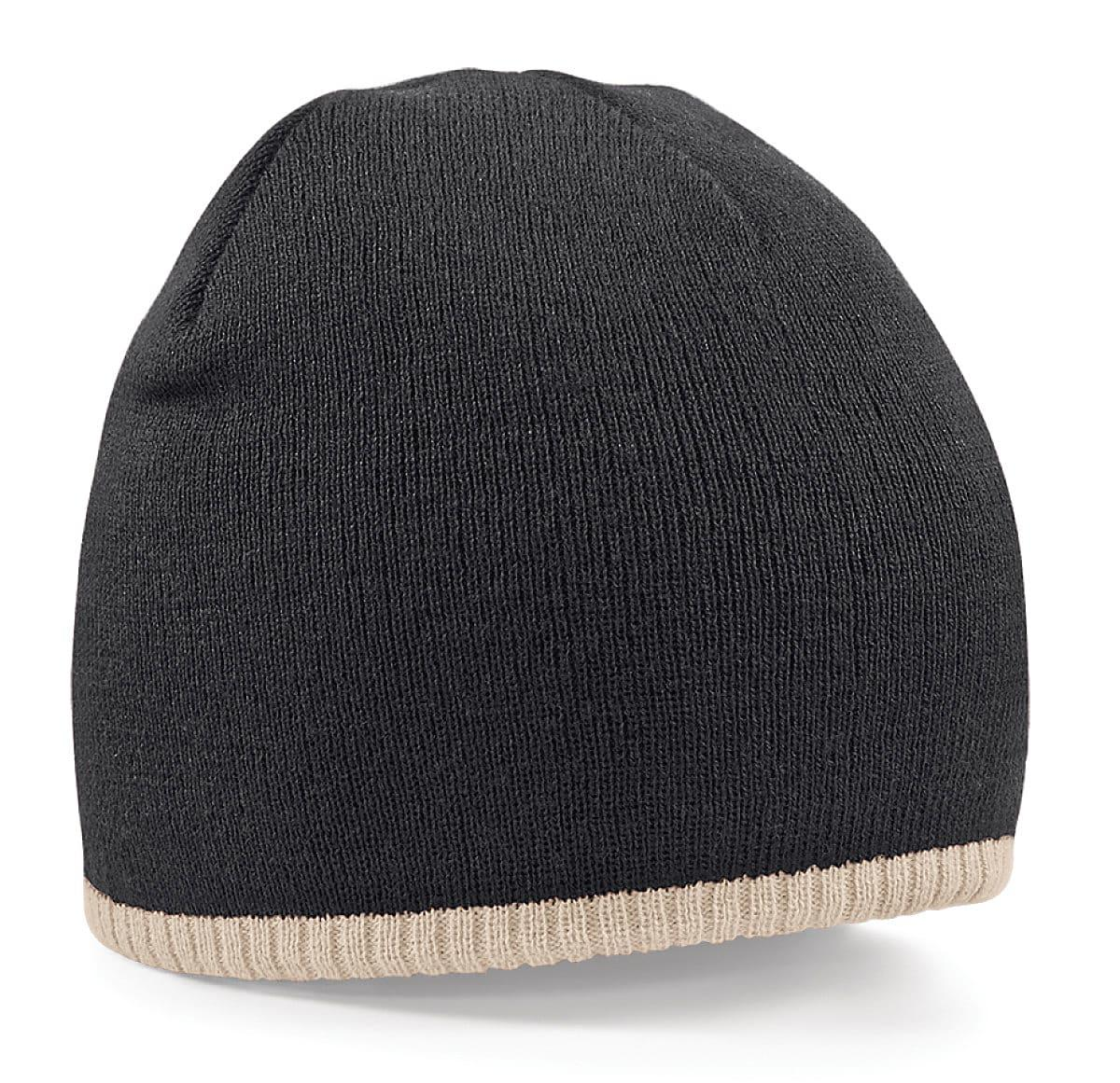Beechfield Two-Tone Beanie Knitted Hat in Black / Stone (Product Code: B44C)