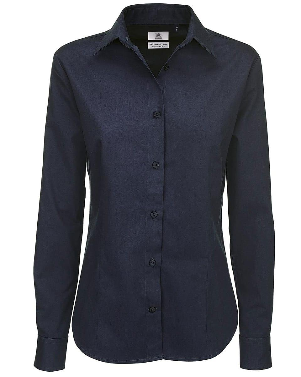 B&C Womens Sharp Twill Long-Sleeve Shirt in Navy Blue (Product Code: SWT83)