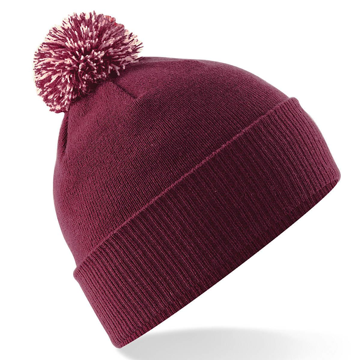 Beechfield Snowstar Beanie Hat in Burgundy / Off-White (Product Code: B450)