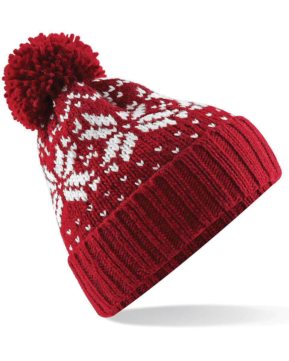 Beechfield Fair Isle Snowstar Beanie Hat in Classic Red / White (Product Code: B456)