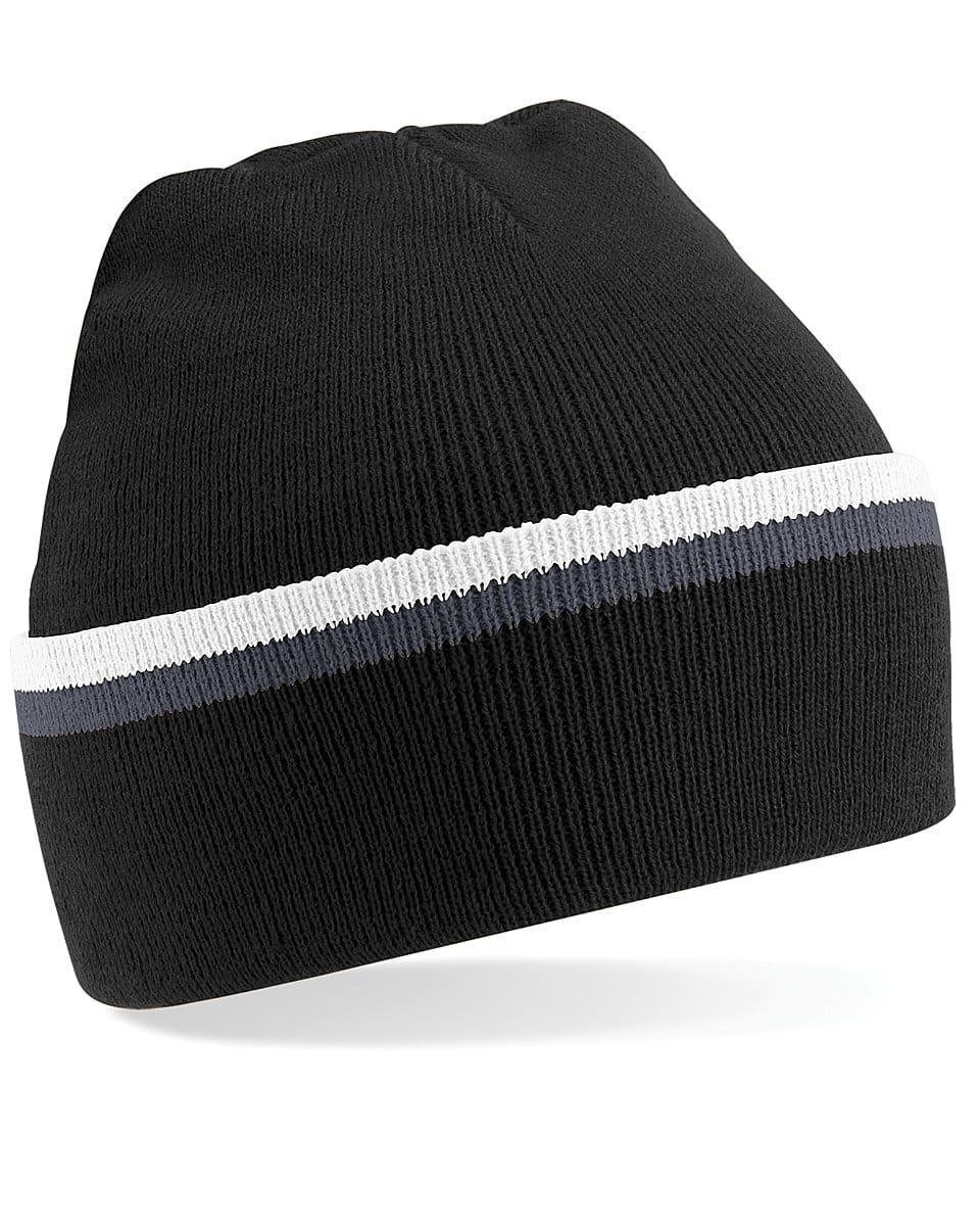 Beechfield Teamwear Beanie Hat in Black / Graphite Grey / White (Product Code: B471)