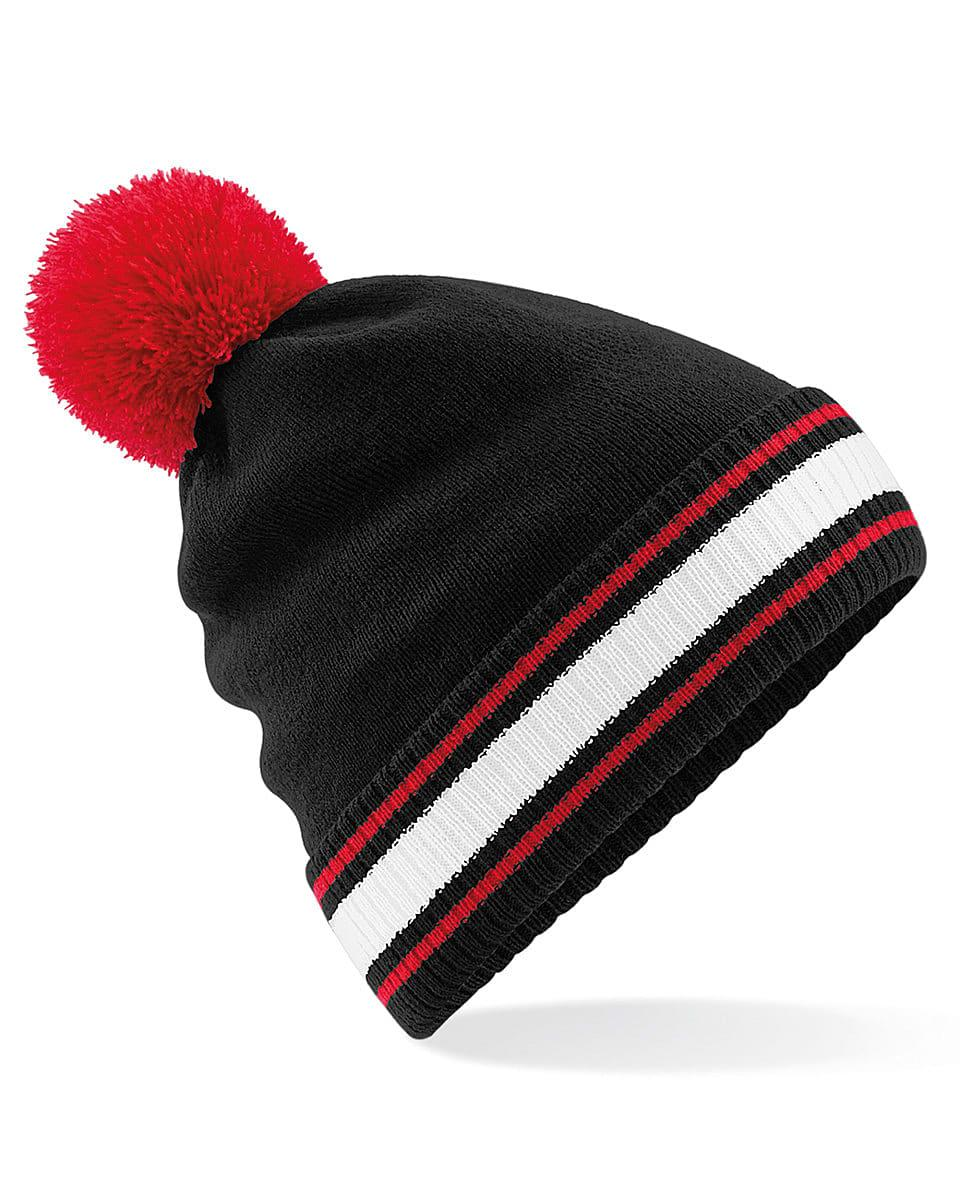 Beechfield Stadium Beanie Hat in Black / Classic Red / White (Product Code: B472)